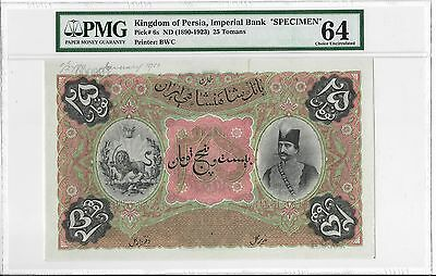 Kingdom of Persia, Imperial Bank - 25 Tomans, 1890-1923. Specimen. PMG 64. Rare