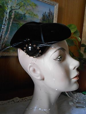 Vintage 1940's Velvet Jewel and Feather HAT tag is GARDNER