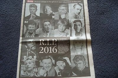The Sun Newspaper 16 Page Tribute To The Stars That Have Died In 2016