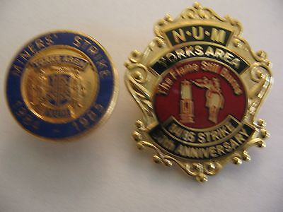 Two National Union Yorkshire Miners Badges  Colliery Mining Pit Check