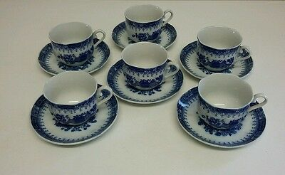 Vintage Blue & White transfer ware cups & saucers with scalloped edges
