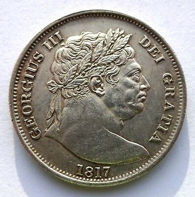 "George III 1817 "" Bull Head "" Halfcrown EF"