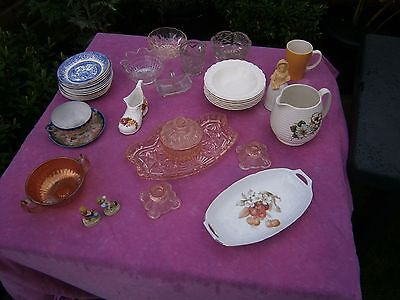 mixed lot of pottery and glassware, beswick , wade etc etc