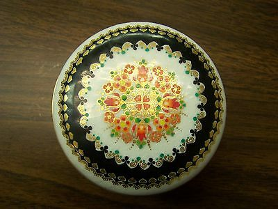 Enamel Box wDouble Lid White w/Black trim #3258 -  Made  in  Austria