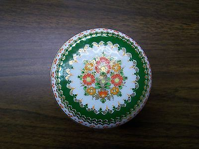 Enamel Box wDouble Lid White w/Green trim #3258 -  Made  in  Austria