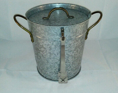 Ice Bucket Insulated Galvanized Steel with Ice Tongs and Lid