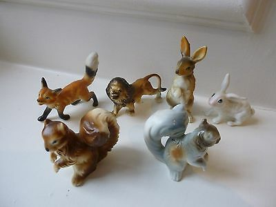 Miniature Pottery Animals - Not Wade - Fox Squirrel Rabbit Hare Lion
