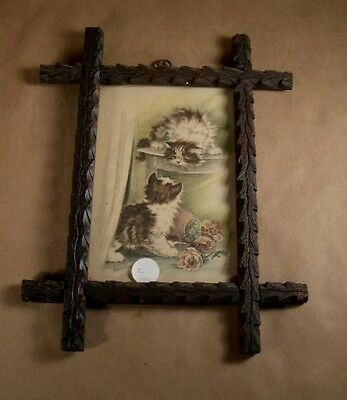 """Antique Signed Framed Print Mischief  """"Kittens at Play"""" Criss Cross Frame  Cats"""