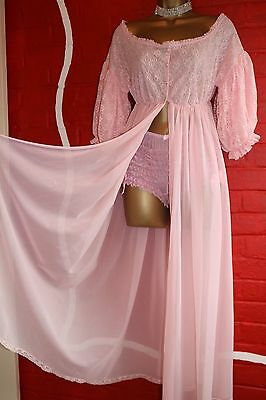 Vtg Chiffon Double Layer Lace Bodice Baby Sissy Pink Dressing Gown Robe Sz Large