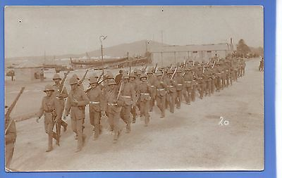 Superb Rare Ww1 British Army Marching North Africa ? Rp Photo Vintage Postcard