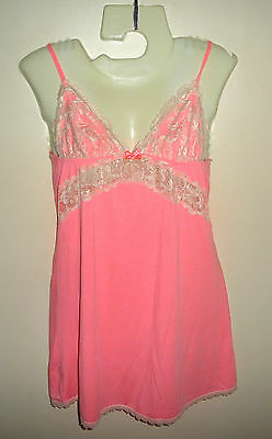 Victoria's Secret Coral Pink Lacy Babydoll Camisoletop Xs