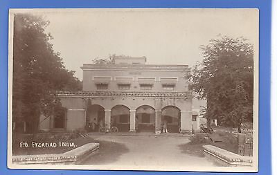 SUPERB 1920c FYZABAD INDIA POST OFFICE RP REAL PHOTO VINTAGE POSTCARD
