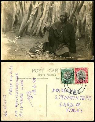 South West Africa Namibia 2 S.W.A. Overprints 1928 Old Postcard Native Black Man