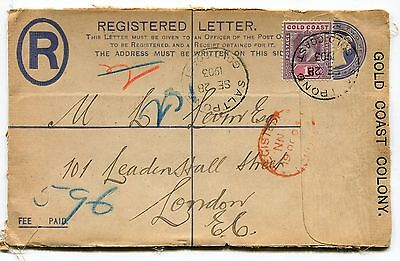 STAMPS GOLD COAST REGISTERED FRONT VIC. UPRATED WITH 1p ED. 7th. USED FROM SALT