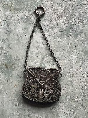 Antique Sterling Silver Miniature Purse Filigree Clover Pattern Outstanding
