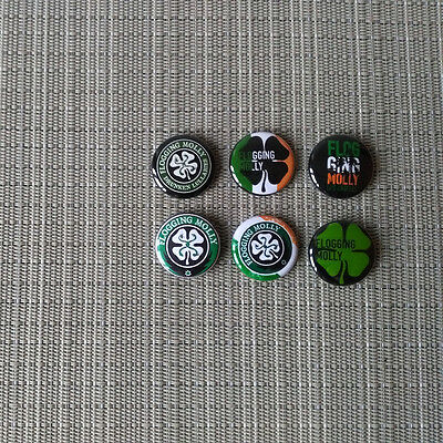 6 Flogging Molly Buttons / Pins / Badges / 1 Inch / 25 mm / Irish Celtic Punk