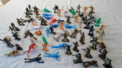 LOT OF 73x VINTAGE 1/32 SCALE PLASTIC SOLDIERS LONE STAR CRESCENT TIMPO +OTHERS