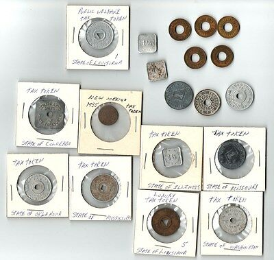U. S. Tax Tokens Grouping - 19 In All