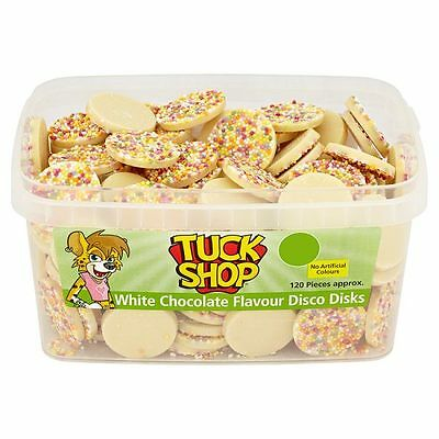 Tuck Shop White Chocolate Disks Sweets Box Party Favours Treats Discount Candy