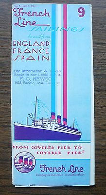 French Line Sailings to and from England France Spain Timetable Pricelist 1934