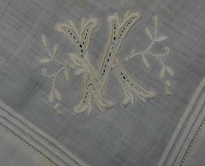 Beautiful White Cotton Handkerchief With Hand Embroidered Initial K (4581)