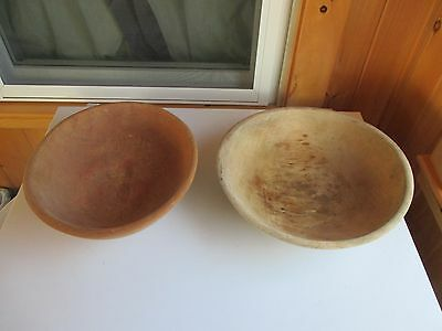 "Two Antique Wooden Dough Bowls, Off Round, 12"" & 13"""