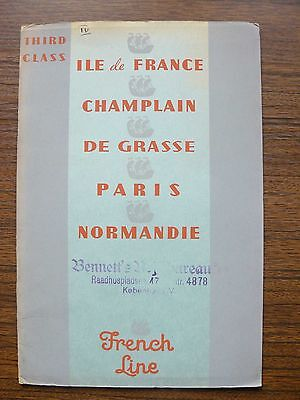 French Line 3rd Class Accommodation Europe to North America Ad Booklet 1938