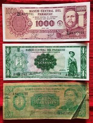 PARAGUAY - Used Banknotes x 3