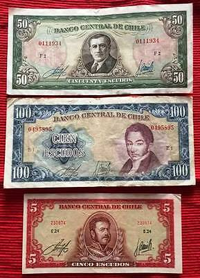 CHILE - Used Banknotes x 3