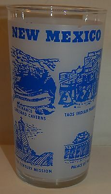 1950s Hazel Atlas NEW MEXICO State Frosted Souvenir Glass