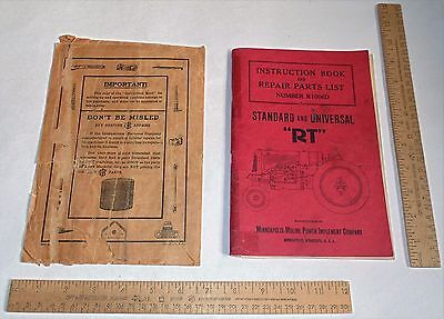 MM INSTRUCTIONS BOOK and REPAIR PARTS LIST - STANDARD and UNIVERSAL RT Tractor