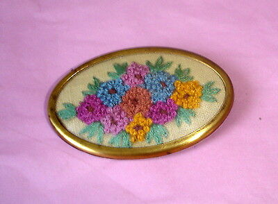 1940 Vintage Hand Embroidered Flowers Oval Framed Brooch or Pin