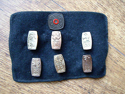 6 x BOYS BRIGADE METAL PIN BADGES ON ARM BAND: SCOUTS, CUBS, CADETS, ETC'.