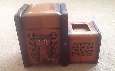 Vintage Wooden Musical Music Box & Cigarette Holder House Clearance