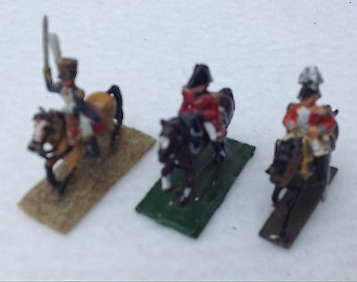 20mm Napoleonic Wargames French and British Mounted Officers Painted x 3