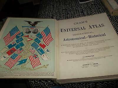 1901 Cram's Universal Atlas Book 676 Pages of Maps - NO Page Tears or Creasing