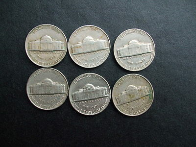 United States Of America Five Cents x 6 1940-1964