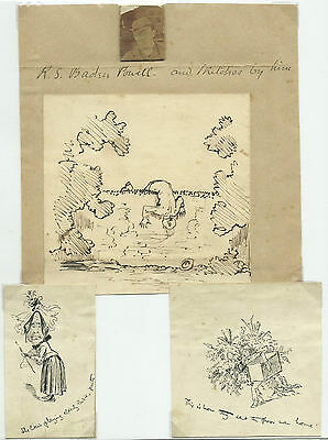 Three Genuine Original Sketches By Baden Powell With Betty Clay Confirmation