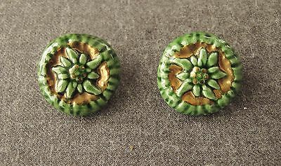 Vintage 70's Artisan Crafted Golden & Green Ceramic Pottery Flower  Earrings