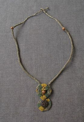 Vintage Artisan Jeweled With Seeds Hand Knotted Threads Necklace Unused
