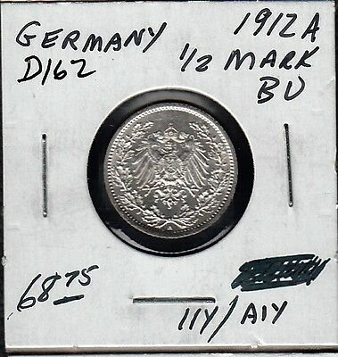 D162 Germany 1/2 Mark Coin 1912A Brilliant Uncirculated - Buy It Now