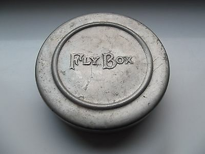 Vintage Round Alloy Fly Box containing 14 Flies
