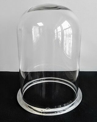 Large Antique Victorian Cloche Heavy Hand Blown Glass Vacuum Bell Display Jar