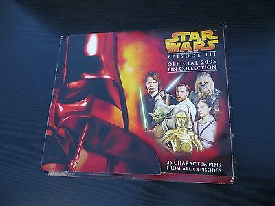 Rare Star wars episode 111 official 2005 Pin collection folder and 7 Pins