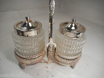 Silver Plate , Glass Condiment Jars ,   ref 1091