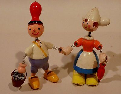 Pair of 2 vintage hand painted WOOD SPRING PEOPLE Bobble Heads NETHERLANDS?