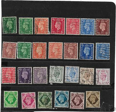 GB Stamps KING GEORGE VI DEFINITIVES COLLECTION OF ALL 27 SHADES CAT £16 USED