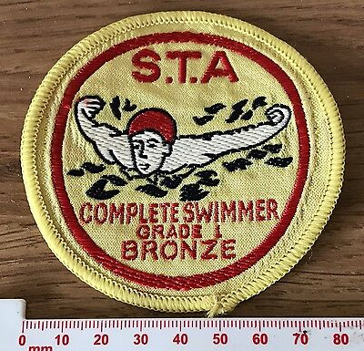 International STA Complete Swimmer Grade 1 Bronze Vintage Cloth Swimming Badge