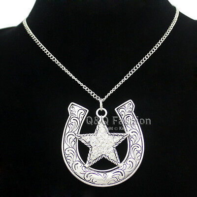 Western Silver Native Horse Shoe Crystal Shooting Star Chain Rodeo Bib Necklace