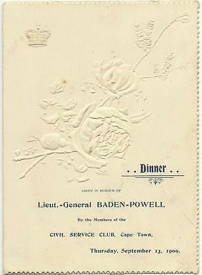 1900 Dinner Menu To Honour Baden Powell Held In Cape Town For Mafeking Defence
